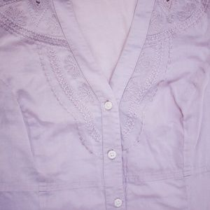 Express Tops - Express Purple Embroidered Button Down Top N15